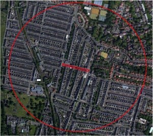A screen shot showing that Acorn Road is a central location for Jesmond Residents