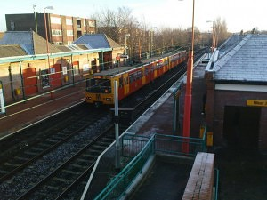 A Metro leaves West Jesmond station.  Photo credit: Matthew Hatton.