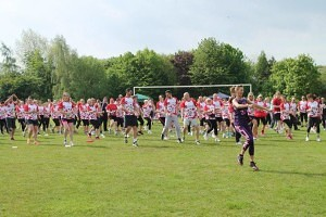 Katie Symes leads the warm up at last year's event