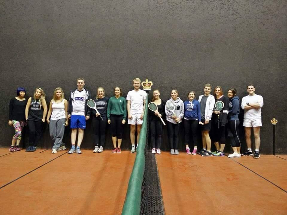 Getting into the swing: members of the Newcastle University Real Tennis team