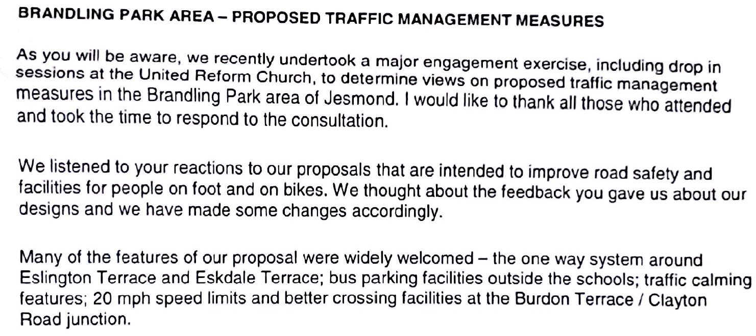 Mixed views on Brandling Park Area\'s traffic plan | JESMONDLOCAL