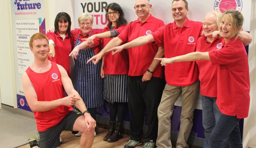 All for a good cause: Angus with fellow People's Kitchen volunteers