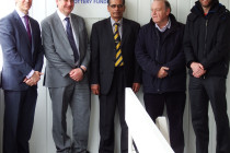 Opening the new facilities: (left to right) Jesmond Ground Trustee Adam Heather; RGS headmaster Bernard Trafford; Newcastle Cricket Club Chair Nadeem Ahmad; Northumberland County CC Vice-President Ken Pearson; Northumberland Cricket Board Director of Cricket Ian Wardle.